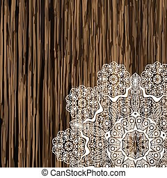 Napkin lace corner on a wooden table. Scrapbook element for your