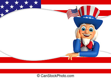 Uncle Sam is thinking - 3d rendered illustration of uncle...