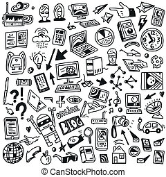 Devices , computers, technology - doodles set - Devices ,...