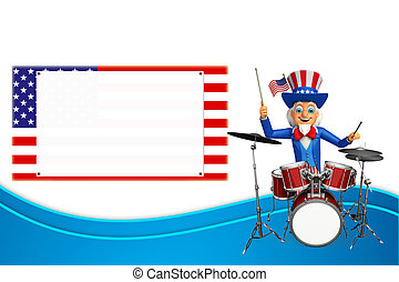 Uncle Sam with drum set - 3d rendered illustration of uncle...