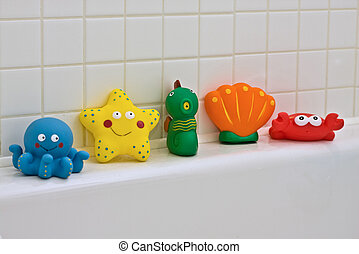 Bath Toys - Colourful Bath toys - octopus, starfish,...
