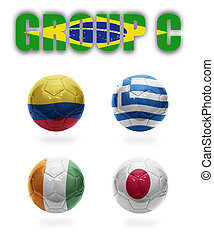 Brazil Group C Realistic Football balls with national flags...