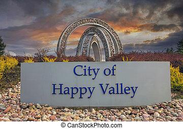 City of Happy Valley Sign - HAPPY VALLEY, OREGON - MARCH 30,...