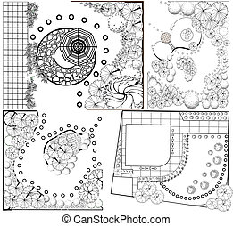 Collections od Landscape Plans - Vector Collections od...