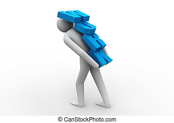 3d man carrying heavy work