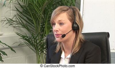 Attractive Blonde on Headset