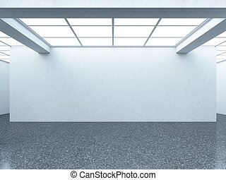 Bright empty gallery interior with white wall 3d render