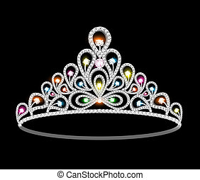 crown tiara women with glittering precious stones -...