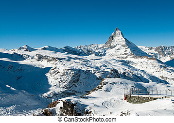 Matterhorn from Gornergrat - Scenic view of Matterhorn from...