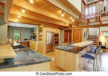 Log cabin style. Kitchen interior