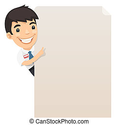 Manager Looking at Blank Poster. In the EPS file, each...
