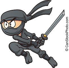 Cartoon ninja attacking. Vector clip art illustration with...