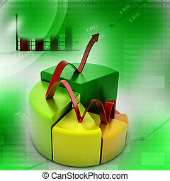 finance pie and bar chart graphs with growing arrow
