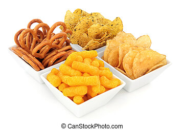 Party Snacks - Savory party snack selection in a white...