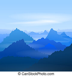 Majestic Blue Mountains - Foggy outdoor blue landscape with...