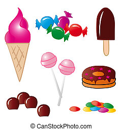 Sweet Food - Set of handmade drawings isolated on white...