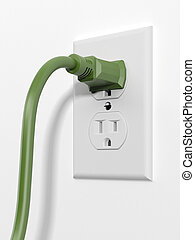 green us style plug with socket isolated on a white...