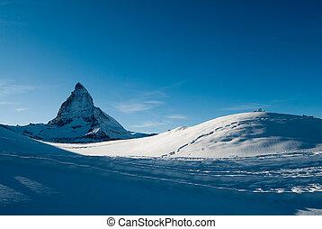 blue matterhorn - matterhorn mountain peak from gornergrat,...