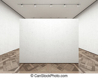 Empty art gallery with white wall 3d render