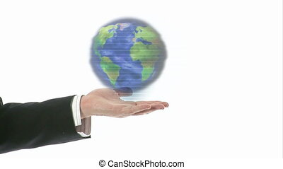 Hand Holding A globe - Stock Footage of a Hand Holding A...