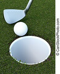 golf with a ball and putter 3d render
