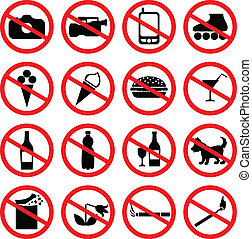 Set of icons forbidding - Set of icons with prohibiting...