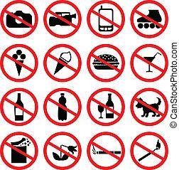 jogo, ícones, proibir