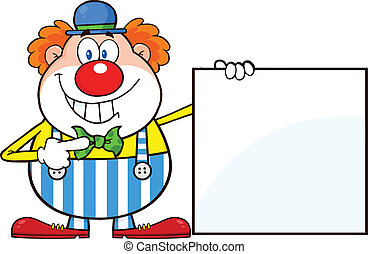 Smiling Clown Showing A Blank Sign