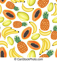 Tropical fruits seamless pattern - Seamless pattern of...