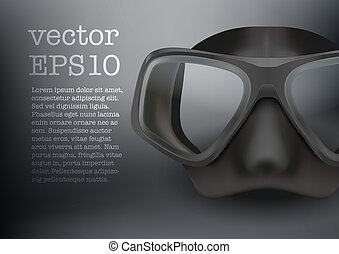 Underwater diving scuba mask vector - Background of...