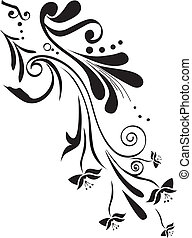 Floral design with scrolls ans swirls