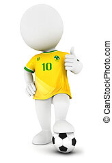 3d white people soccer player with yellow jersey, isolated...