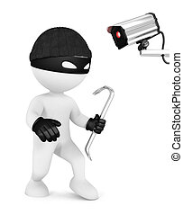 3d white people thief and security camera, isolated white...