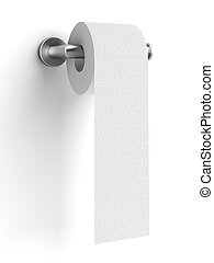 toilet paper on holder isolated on a white background 3d...