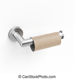 Empty toilet paper roll isolated on a white background. 3d...