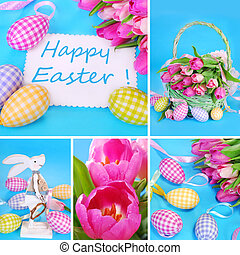 easter collage in pastel colors - easter collage with eggs...