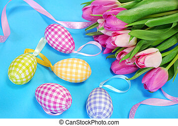 easter decoration in pastel colors - easter decoration with...