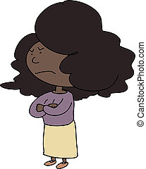 Angry Woman Cartoon - Doodle of angry woman with big hair on...