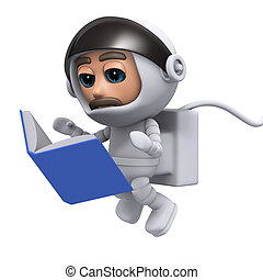 3d Spaceman reads a good book - 3d render of a spaceman...
