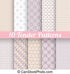 Tender loving wedding vector seamless patterns (tiling). -...