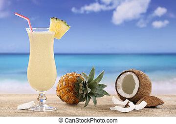 Pina Colada cocktail on the beach - Pina Colada cocktail...