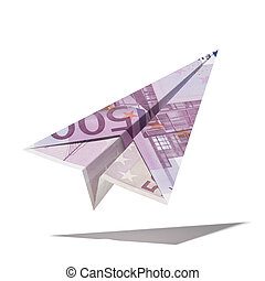 paper plane made with a euro bill isolated on a white...