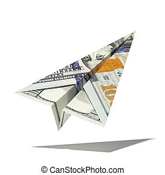 paper dollar plane isolated on a white background. 3d render...