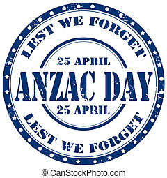 Anzac Day-stamp - Grunge rubber stamp with text Anzac...
