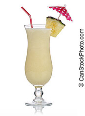 Pina Colada Cocktail isolated on a white background