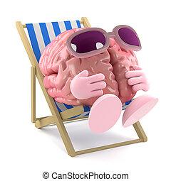 3d Sunbathing brain - 3d render of a brain sunbathing in a...