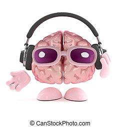 3d Brain listens to headphones - 3d render of a brain...