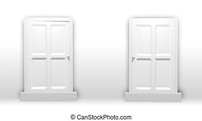 Two doors opening and closing - Two white doors opening and...