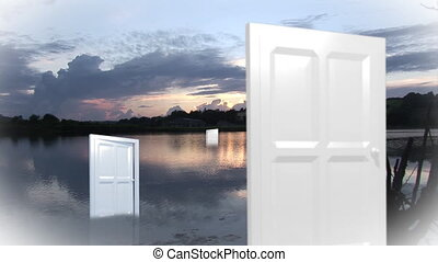 Doors opening and closing in the nature - White doors...