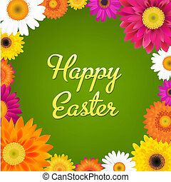 Happy Easter Card With Gerbers, With Gradient Mesh, Vector...